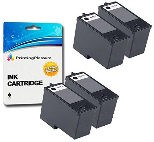 Dell 924 Drucker Tinte (4 SCHWARZ Druckerpatronen für Dell All-In-One 922, 924, 942, Photo 944, 946, 962, 964 | kompatibel zu Dell Serie 5 (M4640))