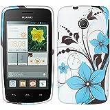kwmobile FUNDA de TPU silicona para Huawei Ascend Y330 Diseño estampado de flores azul negro blanco - Estilosa funda de diseño de TPU blando de alta calidad