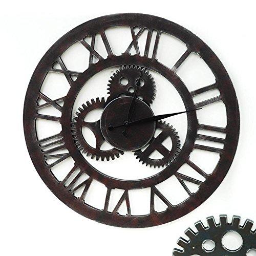 Horloge à engrenages Vintage Rétro rétro européen Artisanat décoratif en 3D Horloge murale en bois Barre à vent industriel Bar Mur Autocollants Mur Décorations créateurs 60cm , C