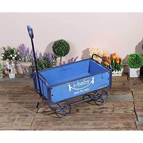New day-El almacenaje industrial del carro de la vendimia que maneja las herramientas adorna la flor casera del jardín de los ornamentos 6 * 13 * 27CM , blue , 52.5*29.5*74.5cm
