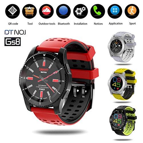 Sansee GPS Smart Watch, Fashion GS8 Waterproof GPS Smart Watch Blood Pressure Heart Rate Wristwatch (Red)