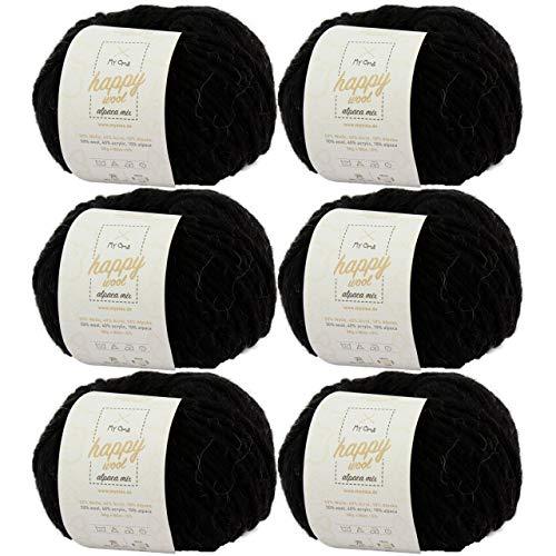MyOma Alpaka Garn *6X Happy Wool Alpaca Mix schwarz (Fb 33)* 6 Knäuel Wolle schwarz + GRATIS Label - Wolle mit Alpaka - 50g/80m - Nadelstärke 7-8mm -Mischwolle zum Häkeln - Wolle zum Häkeln -