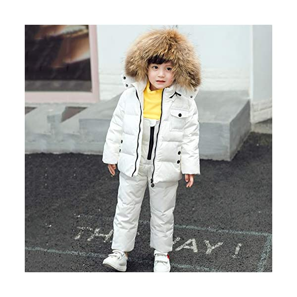 SXSHUN Bebés Traje de Nieve Chaqueta con Capucha de Pelo + Peto de Plumas Conjunto Caliente para Invierno 3