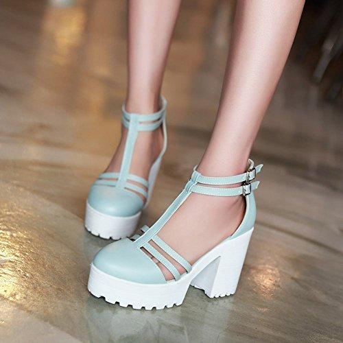 Sandálias Damen Robustos Süß T Com Cinta Sapatos blau Plataforma Saltos TfwHYxqp
