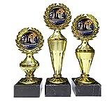 RaRu 3er-Serie Schach-Pokale mit Bunten Emblemen und mit Ihrer Wunschgravur (Biso3)