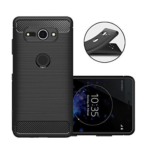 Beyeah Sony Xperia XZ2 Compact Hülle, [Karbon Look] Weich Flexibel Silikonhülle für Sony Xperia XZ2 Compact (Schwarz)