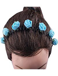 Kabello Multi Colored Flower Headband / Hair Band For Girls And Women (Blue)