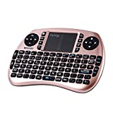 Tsing Mini Teclado Inalámbrico 2.4GHz (Disposición en Español) con ratón touchpad (Oro Rosa)