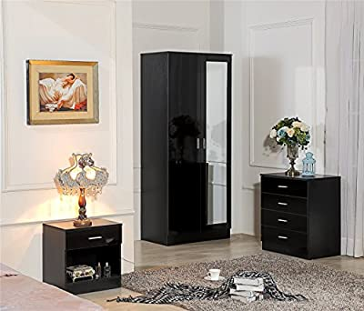 Ossotto Mirrored High Gloss 3 Piece Bedroom Furniture Set - Soft Close Wardrobe, 4 Drawer Chest, Bedside Cabinet (Black/Black)
