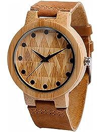 AMPM24 WDW008 - Reloj Cuarzo de Cuero Auténtico Marrón Triángulo de Textura
