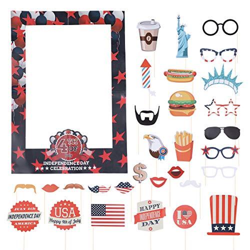 ten für den 4. Juli, Motiv Amerika-Unabhängigkeitstag, Foto-Requisiten für Selfies, zum 4. Juli, Patriotische Party-Dekorationen, 31 Stück ()