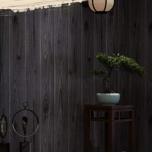 Vliestapete Moderne Wanddeko Design Wandtattoos Wandbilder Dekoration Vintage Chinese Black Wood Farbe Woodgrain Ceiling 10x0.53m, Schwarz Fototapete -