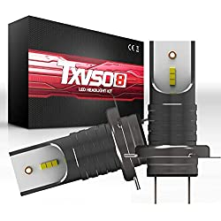 TXVSO 110W 12000LM H7 LED Kit phare de voiture 6000K lampes blanches, adapté pour tous H7 voiture, 55W / ampoule, 2 pcs/ensemble