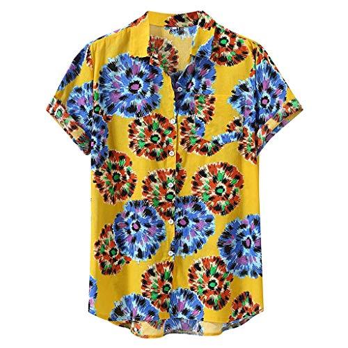 PPangUDing Männer Sommer Hemd Baumwolle Leinenhemd Hemd Langarm Einfarbig Button-down Freizeithemd Männer Front-Tasche Sommerhemd Atmungsaktives (XL, Gelb) -