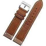 NEU 22mm Tan Leder Uhrenarmband ersetzen Schnalle gold Metall Armband