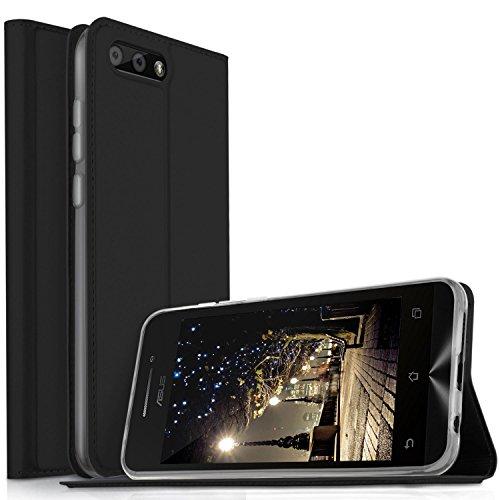 Asus Zenfone 4 ZE554KL Cover - KuGi Slim Flip Cover Custodia per Asus Zenfone 4 ZE554KL Smartphone (Flip Series - Nero)
