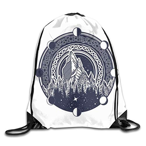 HLKPE Drawstring Backpacks Bags Daypacks,Mountains Celtic Style Great Outdoors Symbol of Adventure and Camping,5 Liter Capacity Adjustable for Sport Gym Traveling