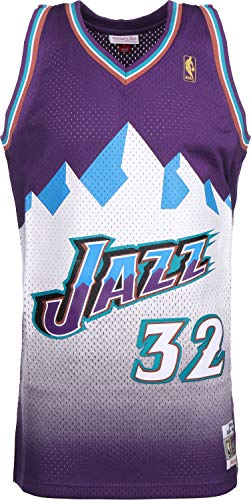 Mitchell & Ness Karl Malone #32 Utah Jazz 1996-97 Swingman NBA Trikot Lila, XL