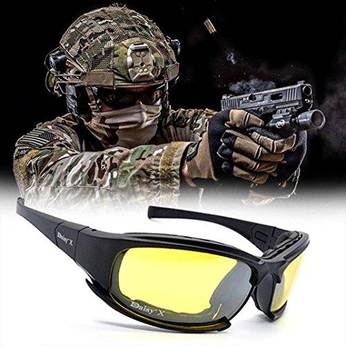 QHJ Fahrradbrille,Sportbrille Sonnenbrille Joggenbrille Augenschutz mit 4 Wechselgläsern für...