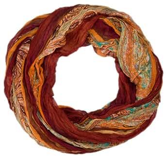 styleBREAKER Loop Schlauchschal mit Streifen und Paisley Muster 01018004, Farbe:Braun-Beige