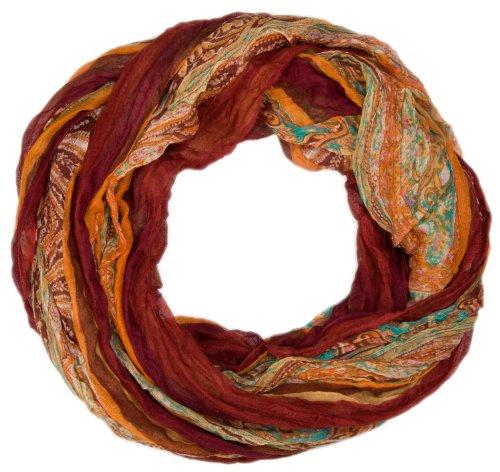 styleBREAKER Loop Schlauchschal mit Streifen und Paisley Muster 01018004, Farbe:Braun-Beige (Braun Paisley)