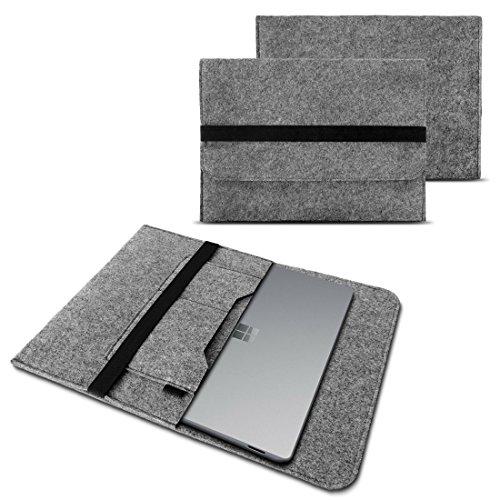 NAUC Tasche Hülle für Microsoft Surface Book 2 Filz Sleeve Schutzhülle Laptop Case 13,5 Zoll Cover Bag mit Innentaschen und sicheren Verschluss, Farben:Hell Grau