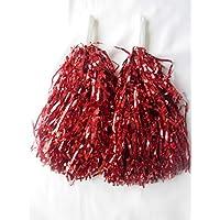 WG - 5 pares de pompones de animadoras para despedida de soltera, color rojo