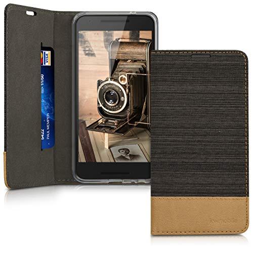 kwmobile LG Google Nexus 5X Hülle - Stoff Handy Cover Case mit Ständer - Schutzhülle für LG Google Nexus 5X