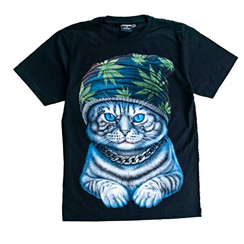 (T-Shirt 3D Glow IN Dark Tier Mann Unisex (Medium, Cat4 with Marijuana Hat (Green Maple)))