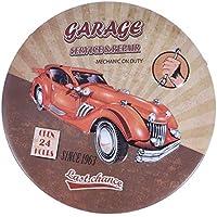 Vosarea Vintage Retro Runde Gedruckt Metallblechschild Tag Dekorative Wandtafel mit Hängenden Seil für Cafe Bar Club Wohnkultur (Garage)
