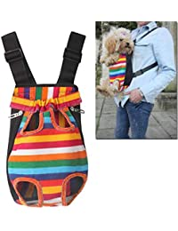 San Valentín! Mochila Porta Mascotas - Zariavo Rainbow Striped Nylon Mesh Travel Travel Bag Mochila