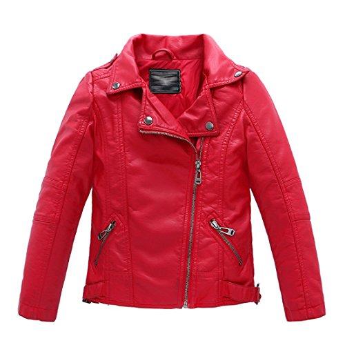 LJYH Kinderkragen motorrad KUNSTLEDER mantel Jungen Leder jacke, Red, Gr. 7-8 - Mantel 8 Winter Jungen