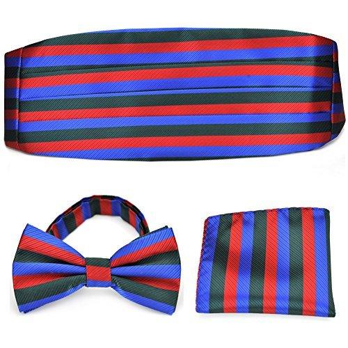 PenSee Herren formelles Classic Stripe vorgebundene Fliege & Pocket quadratisch handgerollter Saum & Kummerbund Set-vers Farben Gr. One size, Rot/Blau Gold Cummerbund-set