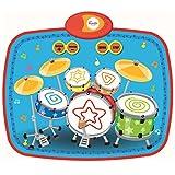 Musikmatte Kinder, Foxom Musikmatte Schlagzeugmatte Drum Matte mit 2 Drumsticks für Kinder