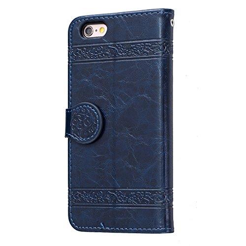 Voguecase Pour Apple iPhone 6/6s 4,7 Coque, Étui en cuir synthétique chic avec fonction support pratique pour iPhone 6/6s 4,7 (Modèle en cire d'huile-Jaune)de Gratuit stylet l'écran aléatoire universe Modèle en cire d'huile-Bleu foncé