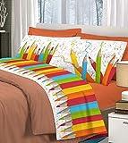 Completo letto lenzuola, parure, stampa digitale matitoni 100% cotone, made in italy - Arancione - 1 Piazza e mezza