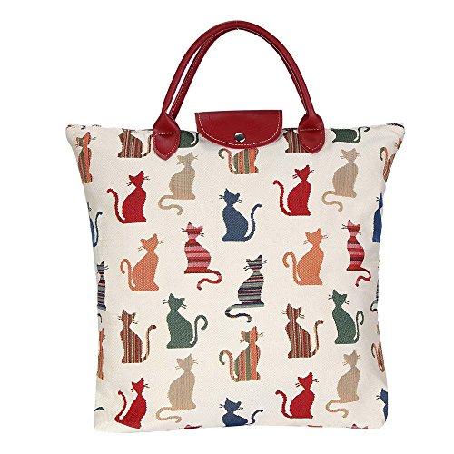 Women's Tapestry Wiederverwendbare Faltbare Einkaufstasche von Signare mit Cheeky Cat