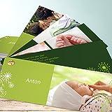 Ausgefallene Geburtskarten, Pusteblume 200 Karten, Kartenfächer 210x80 inkl. weiße Umschläge, Grün