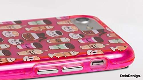 Apple iPhone 8 Bumper Hülle Bumper Case Glitzer Hülle Graphic Grafik Lines Bumper Case transparent pink