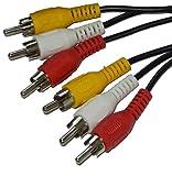 MJS Technologien 3RCA Phono männlich Adapter auf 3RCA Phono männlich Adapter Kabel Video Adapter, 3,5mm Stecker zu 3Cinch Stecker (red-yellow-white) Stecker für AV-, Audio-, Video,-, LCD-TV, HDTV