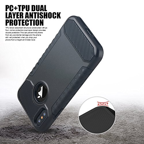 Custodia iPhone X,Custodia iPhone 10,iPhone X Case Snewill Impact Resistant Shock-Absorption Case Dual Layer Armor Full-Body Protective Case for Apple iPhone X - Black Black