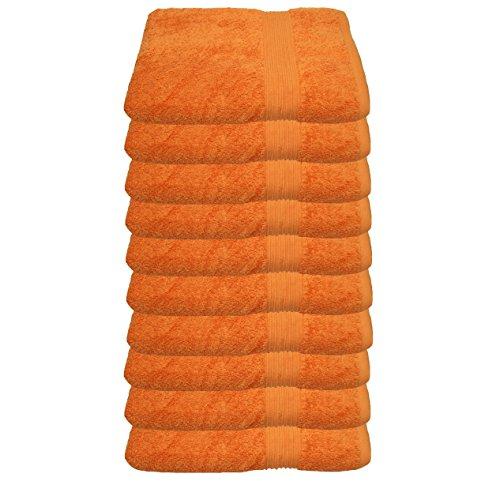 Julie Julsen 10er Pack Gästetuch 23 Farben erhältlich weich und saugstark 500gsm Öko Tex Orange 30 x 50 cm