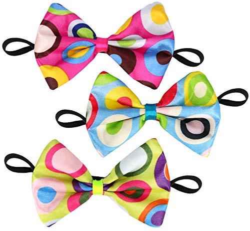 com-four® 3 Bunte Clown-Fliegen für Karneval, Fasching, Halloween, vorgebunden mit Gummiband [Farbauswahl variiert] (3 Stück - Fliege)