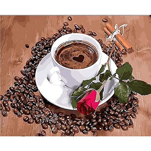 DAMENGXIANG DIY Handgemalte Zahlen Ölgemälde Kaffeetasse Und Rose Blume Moderne Abstrakte Kunst...