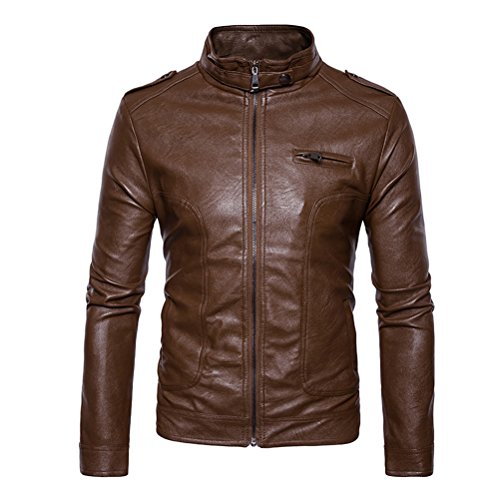 Zhuhaitf Herren Mens Spring Autumn Lightweight Full Zip PU Leather Moto Jacket Motorcycle Jackets Coat Mantel Outwear Outerwear Oberbekleidung for Valentines Graduation Gifts (Valentine Mantel)