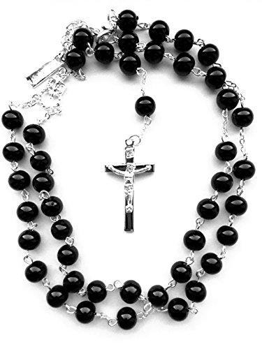 Herren Damen Kreuz Kette Jesus Rosenkranz Halskette Marienbild Madonna Silber Schwarz Perlen Schmuck Anhänger