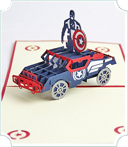 BC Worldwide Ltd handgemachte Captain America 3D Pop-up-Popup-Grußkarte Geburtstag Weihnachten Hochzeitstag Halloween Vatertag Muttertag Valentinstag Housewarminggeschenk