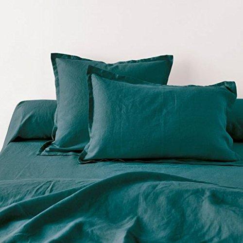 Home Inspiration Taie d'oreiller avec Volant Lin Coton Petrol 65 x 65 cm