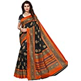PRAMUKH STORE Sampoorna Black Saree For Women's Bhagalpuri Saree With Blouse Piece, Black And Multi Color Saree, New Design Sarees, Latest Collection Sarees 2018, New Collection Saree