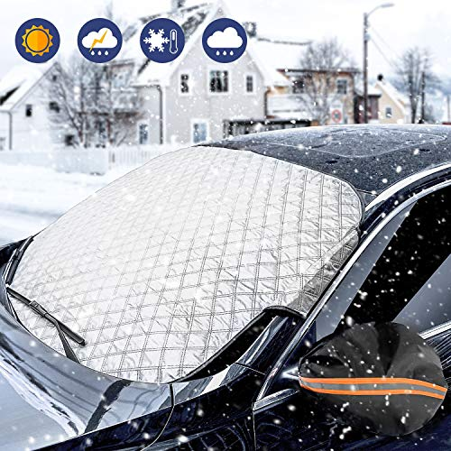 WisFox Pare-Brise Couverture Anti Givre Pare-Brise Avant pour Voiture SUV Anti UV Pluie Givre Glace Neige Imperméable Repliable pour Pare-Soleil